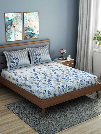 Spaces Occasions 210 TC 100% Cotton Large Bed Sheet With 2 Pillow Covers (Blue)