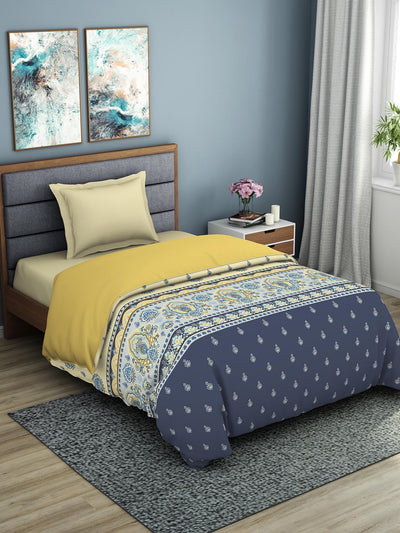 Spaces Geostance 144 TC 100% Cotton Single Quilt (Yellow)