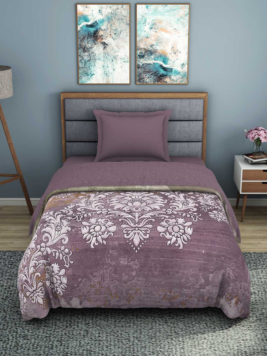 Spaces Bonica 180 TC 100% Organic Cotton Shell Single Quilt (Purple)