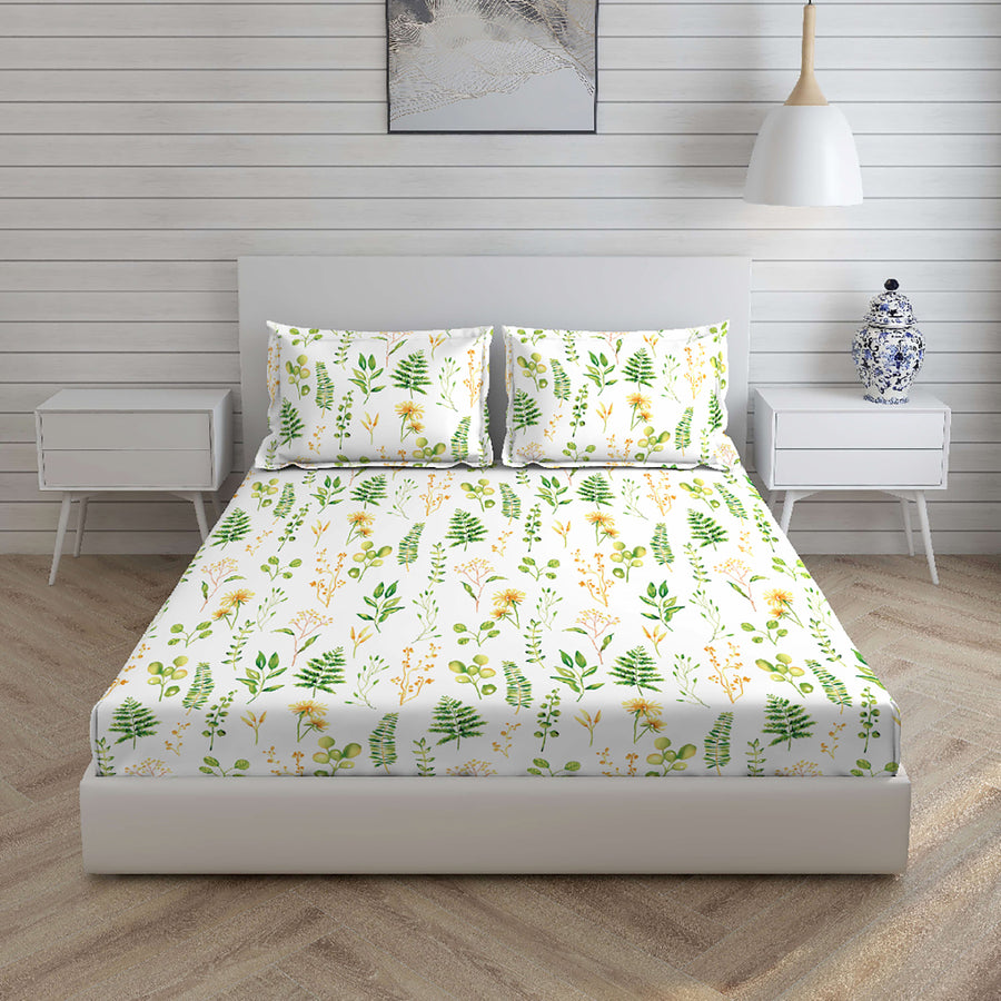 Boutique Living 220 TC Printed Double Bedsheet Printed With 2 Pillow Covers