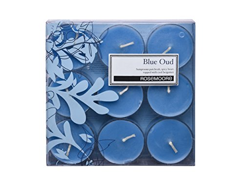 Rosemoore Oud Scented Tea Light Candles 9 Pieces (Blue)