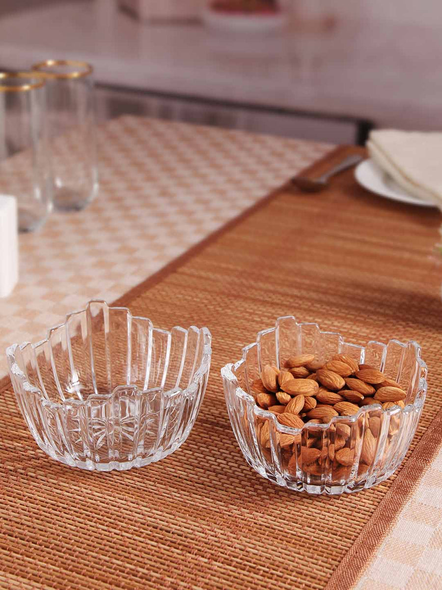 Roxx Leaf Glass 4 Pieces Bowl Set (Transparent)
