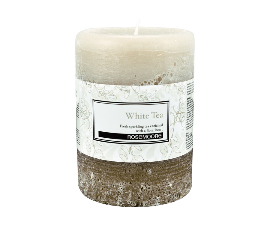Rosemoore Tea Scented Pillar Candle (White)