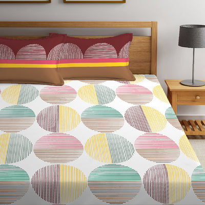 Boutique Living 144 TC Printed Layers Double Bedsheet Printed With 2 Pillow Covers