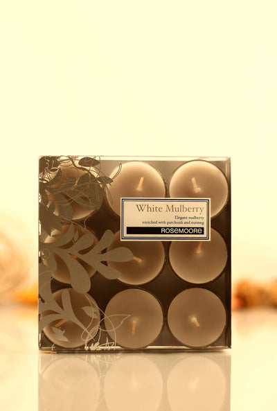 Rosemoore Mulberry Scented Tea Light Candles 9 Pieces (White)