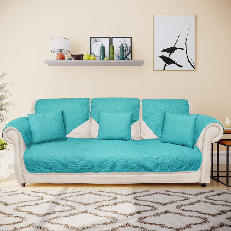 @home by Nilkamal Reversible 3 Seater Sofa Cover with 3 Cushion Covers