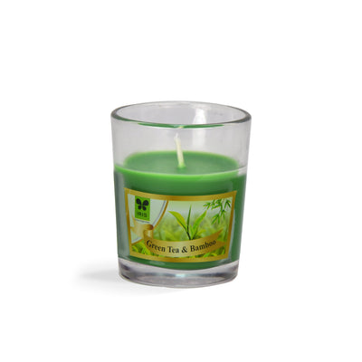 Iris Glass Votive Green Tea & Bamboo( Red)