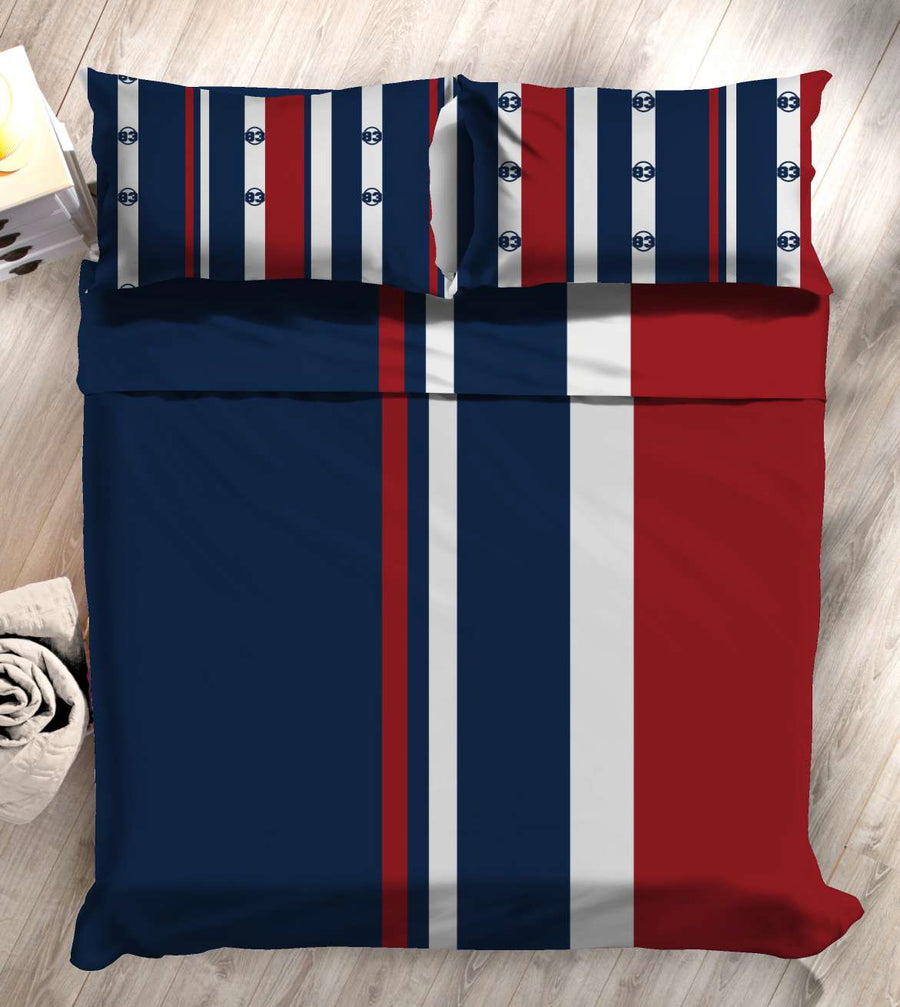 """83"" Vertical Stripes Double Bedsheet with 2 Pillow Covers (Red)"