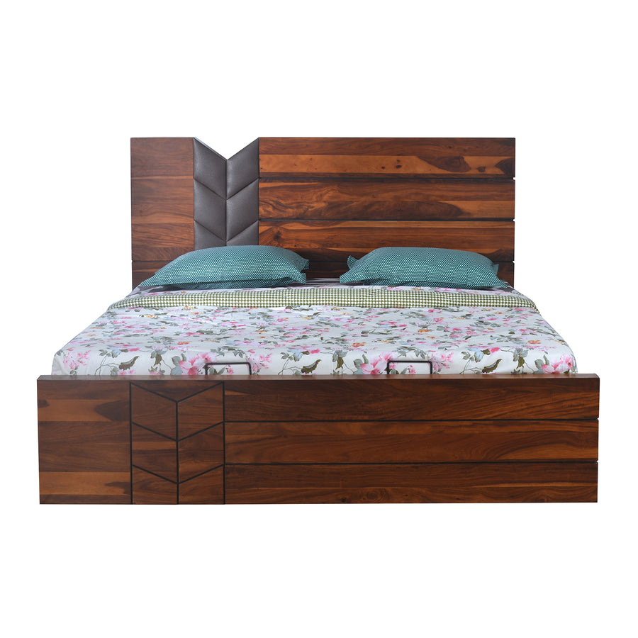 Ankara Queen Bed With Hydraulic Storage (Walnut)