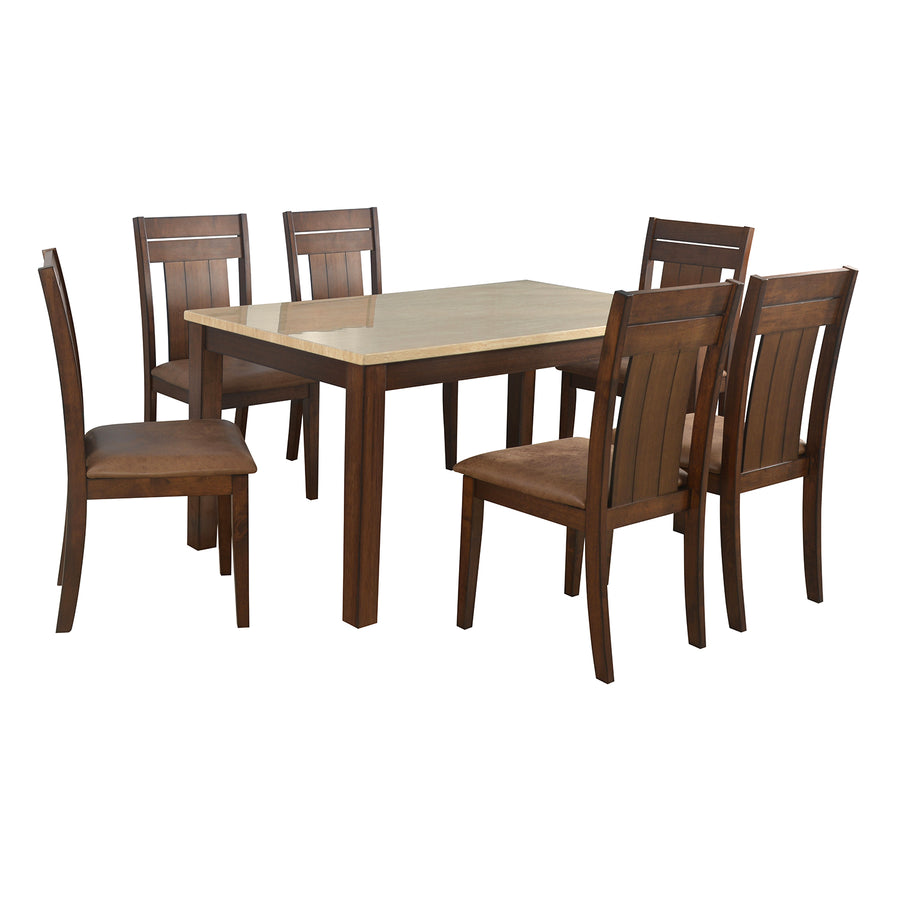 Arnold Marble 6 Seater Dining Kit (Beige)
