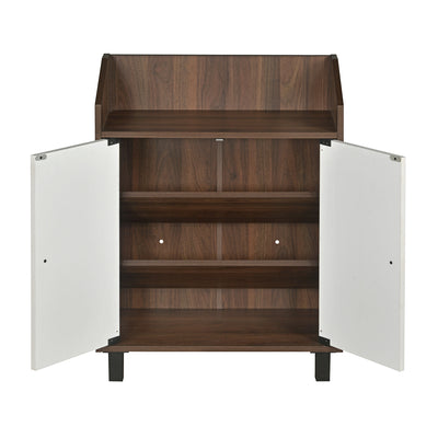 Aze Shoe Cabinet (Walnut with White)