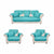 Reversible 3+1+1 Seater Patch Sofa Cover (Sea Green)