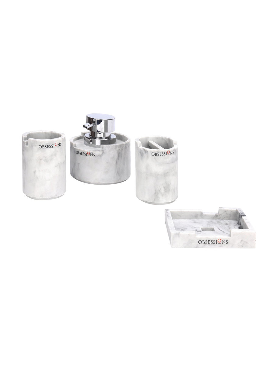 Alvina Bath Accessories Set 4 Pieces (White)