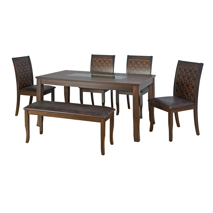 Camilla 1+4+Bench Dining Set (Dark Walnut)