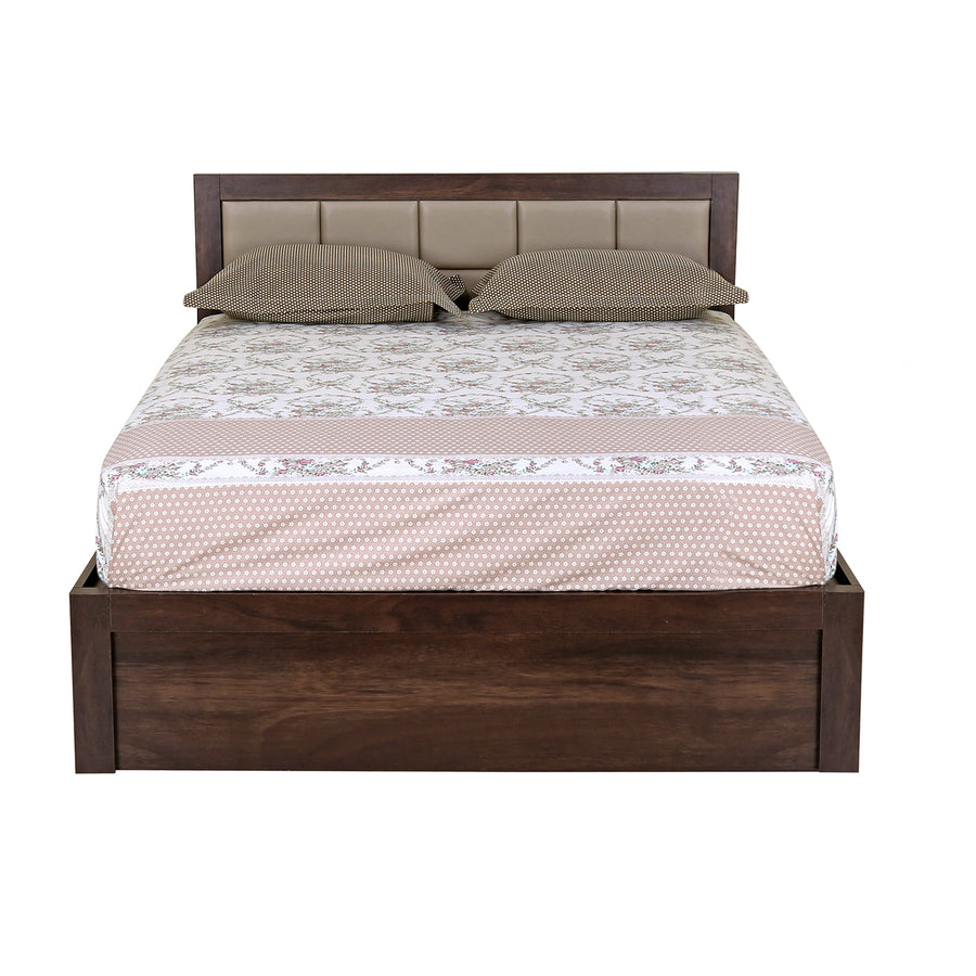Captain Queen Bed with Box Storage (Walnut)