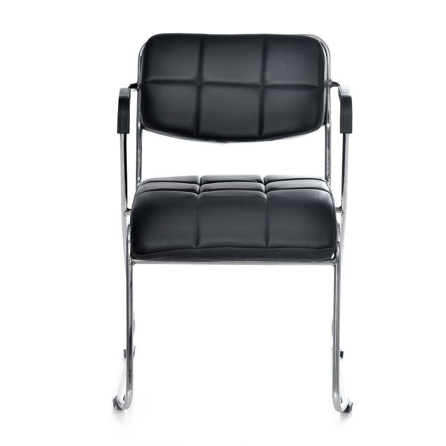 Contract 02 Soft PVC Visitor Chair with Arm (Black)