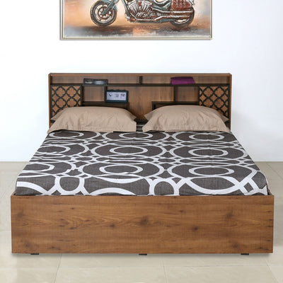 Czar 1 Queen Bed with Box Storage (Wenge & Knotwood)