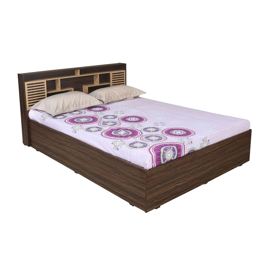 Czar 2 King Bed with Box Storage (Beech & Walnut)