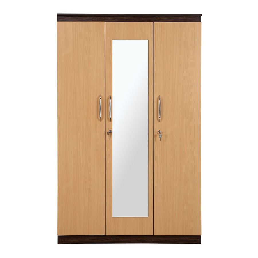 Czar 3 Door Wardrobe With Mirror (Beech & Walnut)