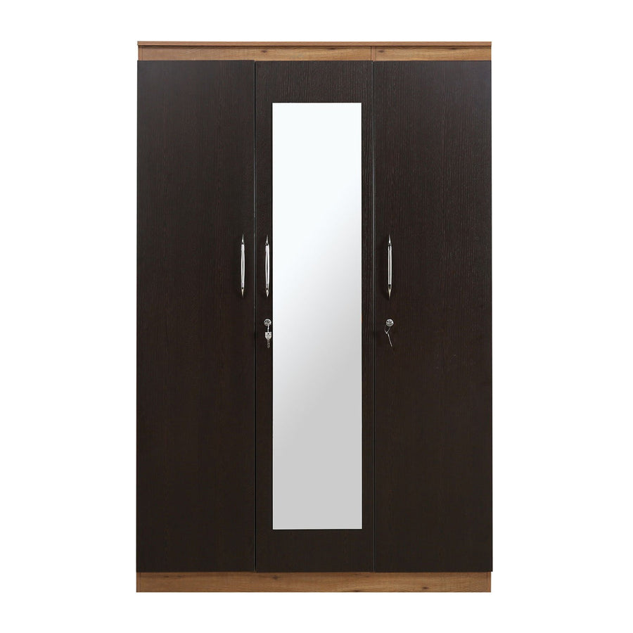 Czar 3 Door Wardrbe With Mirror (Wenge & Knotwood)