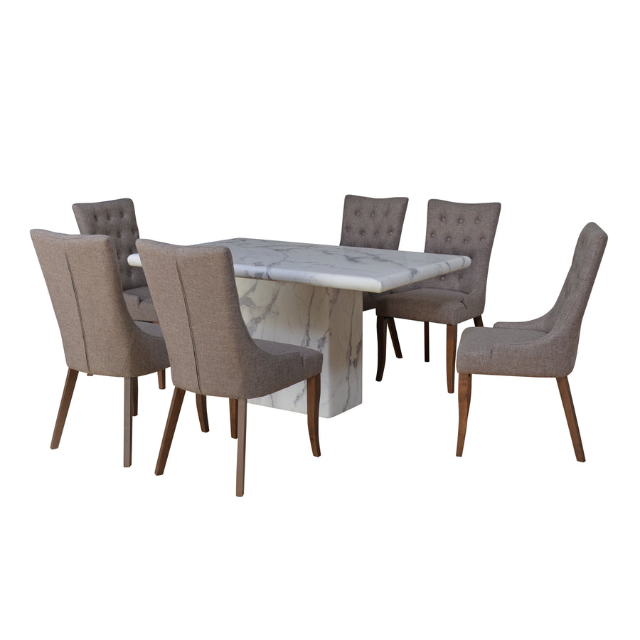 Desire 6 Seater Dining Set (White)