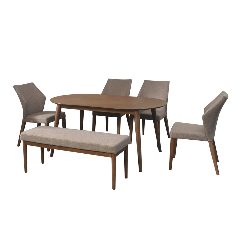 Devin 1+4+Bench Dining Set (Walnut)