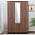 Enri 3 Door Wardrobe With Mirror (Wenge & Teak)