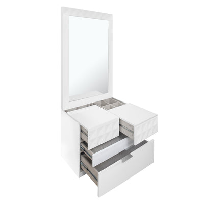 Theia Queen Bedroom Set With Night Stand And Dresser (White)