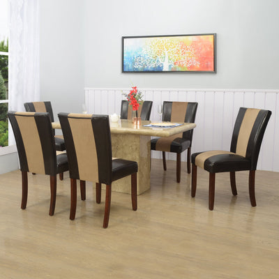 Desire Jenn Six Seater Dining Set (Yellow And Walnut)