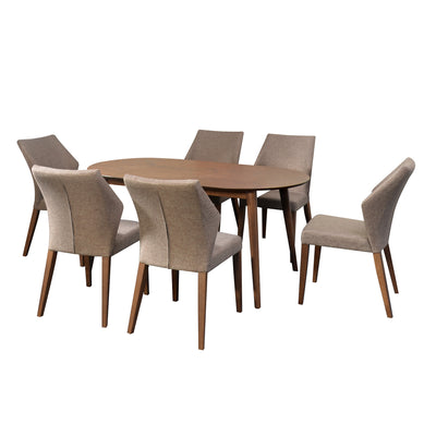 Devin 6 Seater Dining Set (Brown)