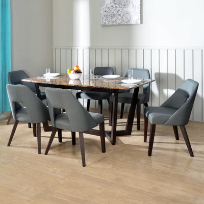 Domenico 6 Seater Dining Set (Brown)