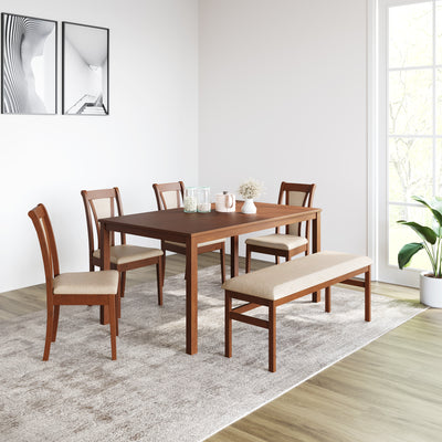 Jewel Six Seater Dining Set With Bench (Walnut)