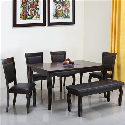 Kaiser Six Seater Dining Set With Bench (Cappucino)