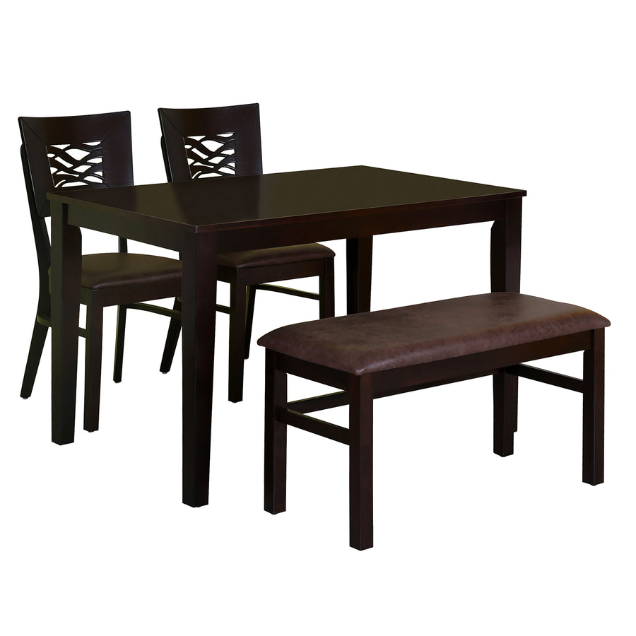 Waves 1+2+Bench Dining Set (Brown)