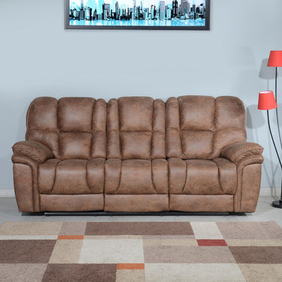 Dubai 3 Seater Manual Recliner with Drop Table (Brown)