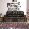 Ethan 3 Seater Sofa With 2 Manual Recliner Half Leather (Russet Brown)