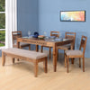 Dalia Six Seater Dining Set With Bench (Natural Walnut)