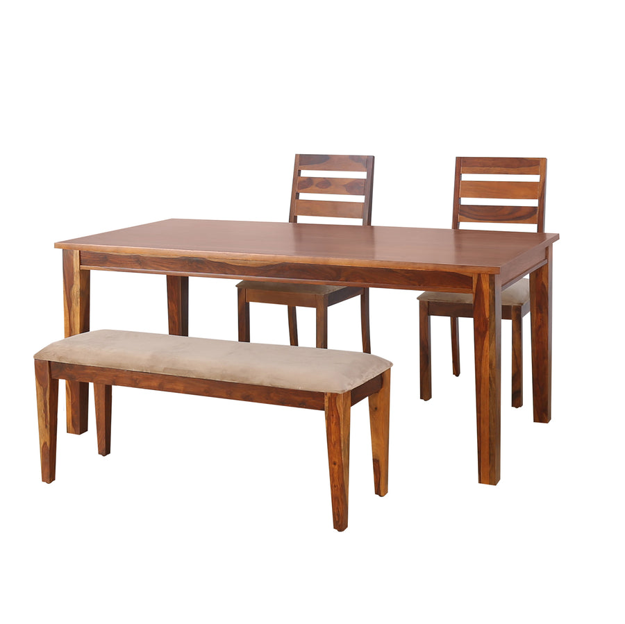 Stassy 1+2+Bench Dining Set (Brown)