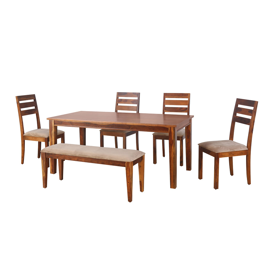 Stassy 1+4+Bench Dining Set (Brown)