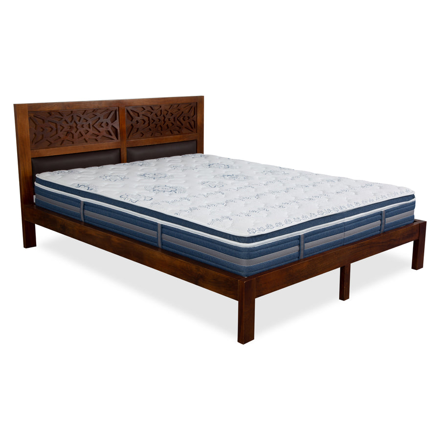 Vibrant Box Top 6 + 2 inch Queen Bed Spring Mattress (White & Blue)