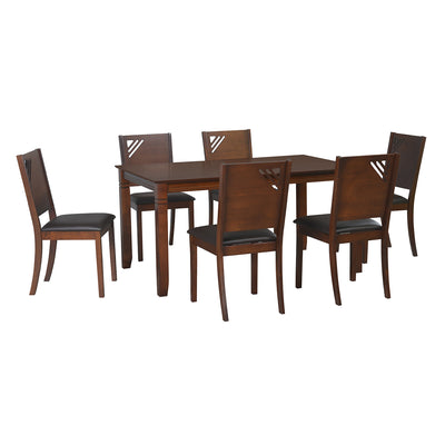 Floret 6 Seater Dining Set (Walnut)