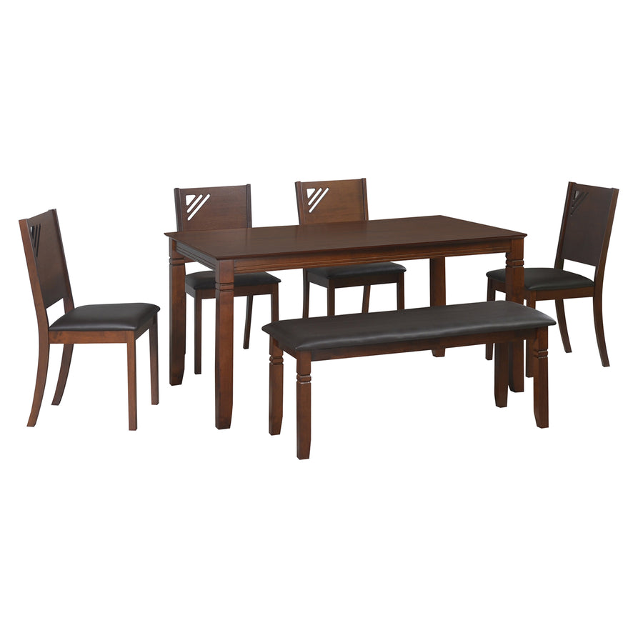 Floret 1 + 4 + Bench Dining Set (Walnut)