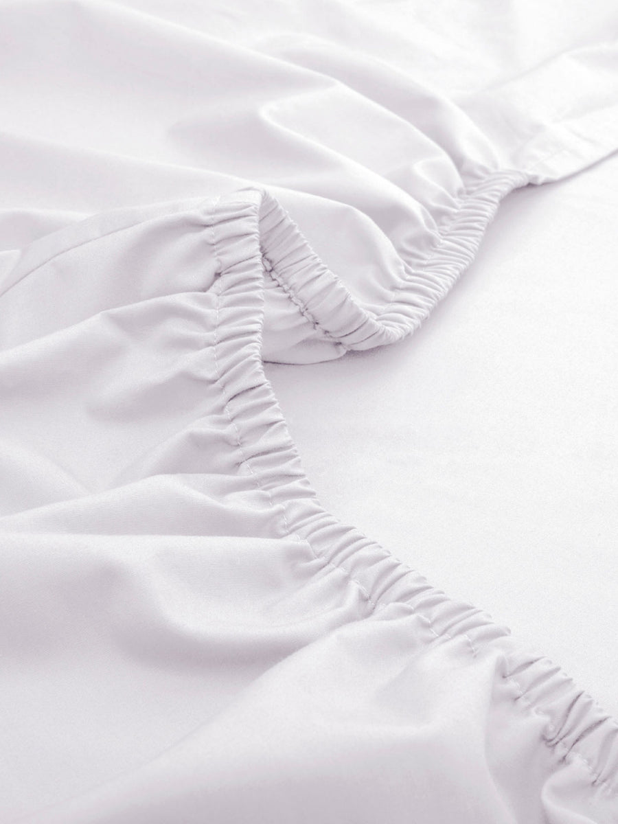 Maspar 200 TC Cotton Double Fitted Sheet With 2 Pillow Covers (White)