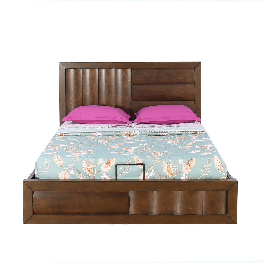 Gladiator Queen Bed with Hydraulic Storage (Brown)