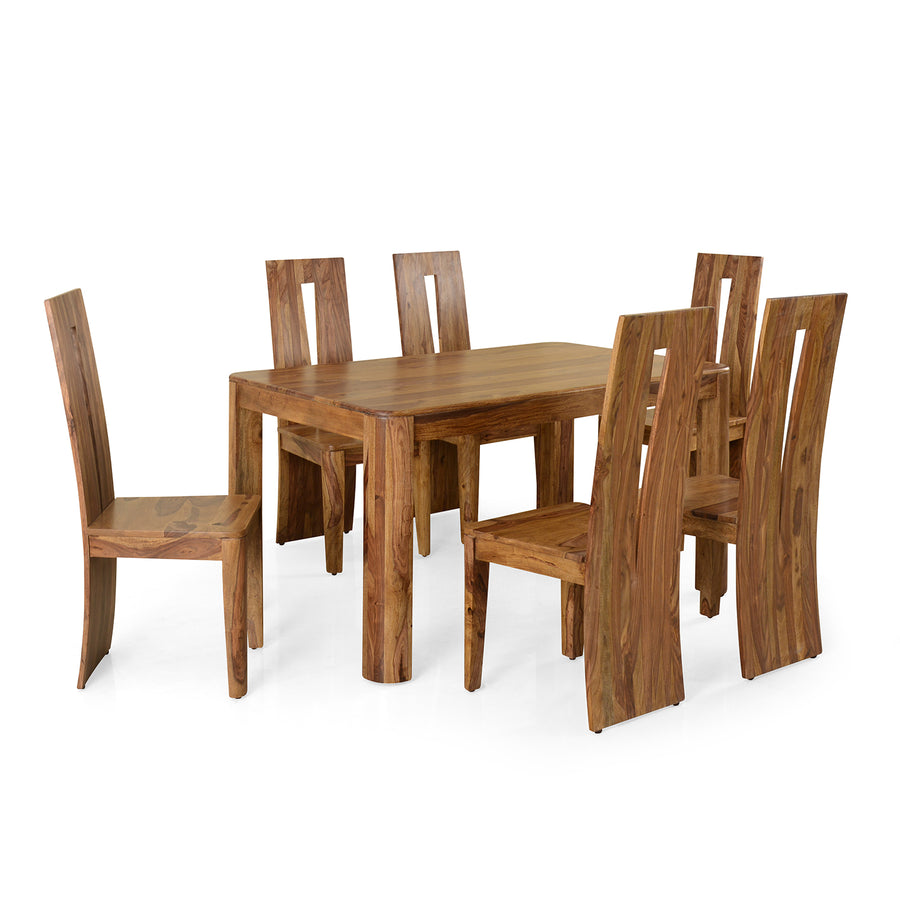 New Granada 6 Seater Dining Set (Natural Walnut)