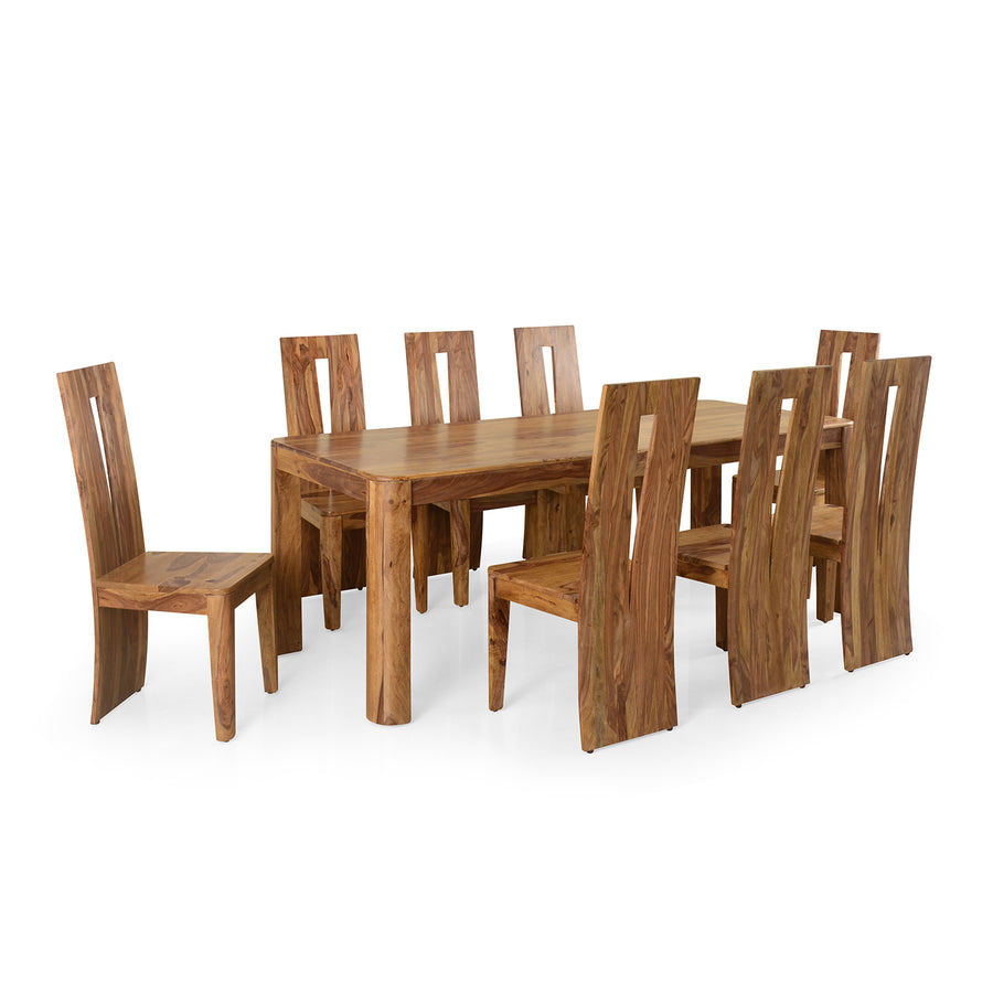 New Granada 8 Seater Dining Set (Natural Walnut)