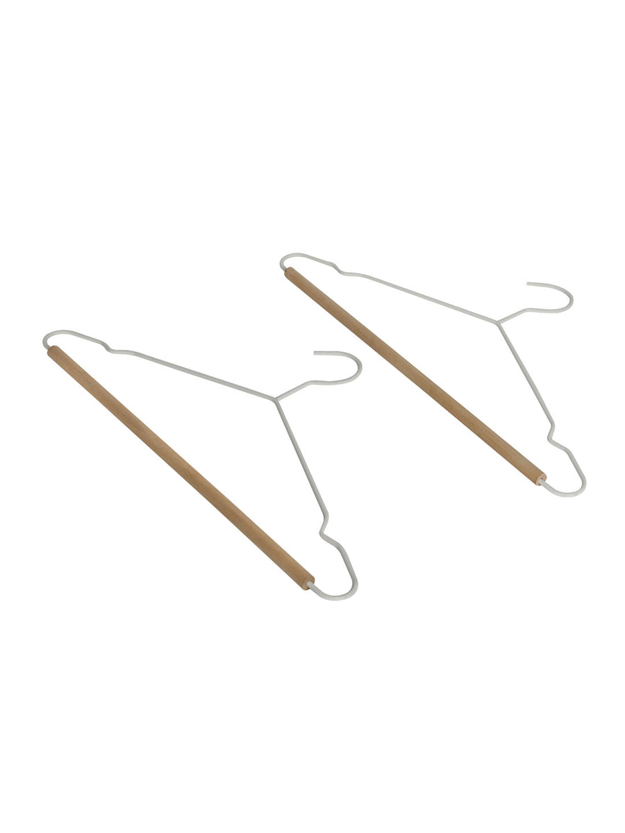 Wooden & Metal Hanger Set of 2 (White)