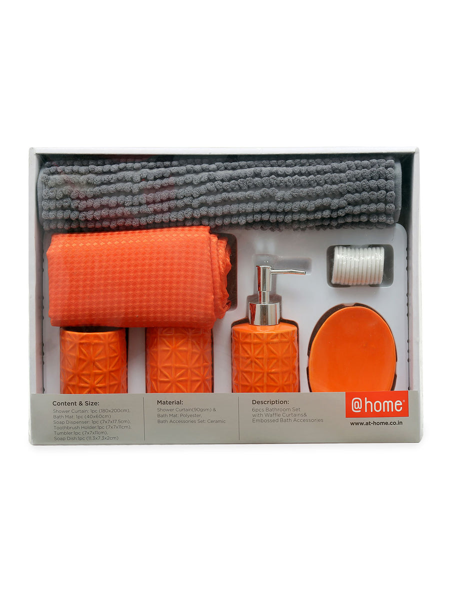 Solid Bath Accessories Set Of 6 Piece (Orange)