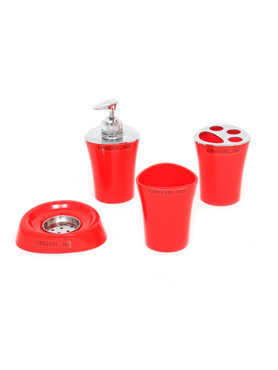 Obsessions Bathroom Set Bathroom Set Element 4Pcs Na 80295 Red