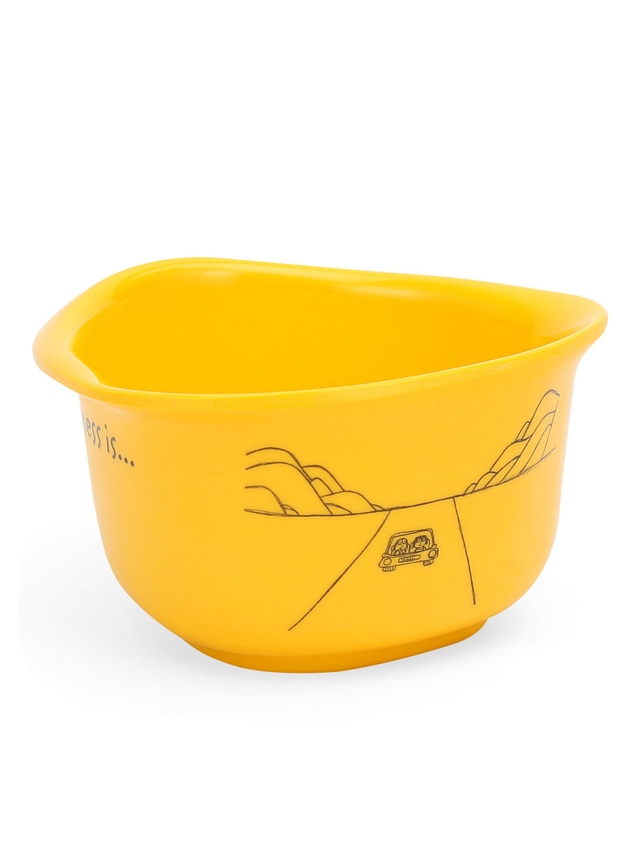 Happiness Triangular 300 ml Bowl (Yellow)